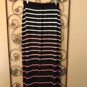 Striped maxi skirt in corals and pinks